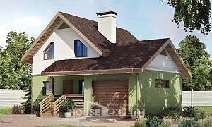 120-002-R Two Story House Plans with mansard with garage under, classic Custom Home