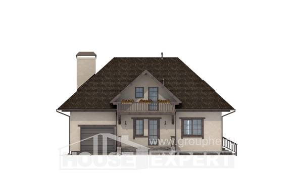 200-001-L Two Story House Plans with mansard roof and garage, luxury Home Plans