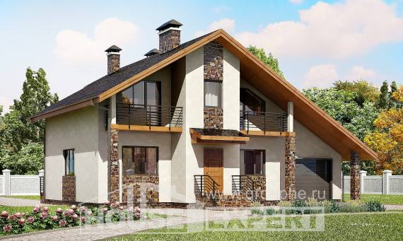 180-008-R Two Story House Plans and mansard and garage, spacious Online Floor