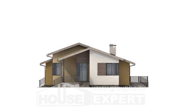 135-002-L One Story House Plans with garage under, classic Plans Free