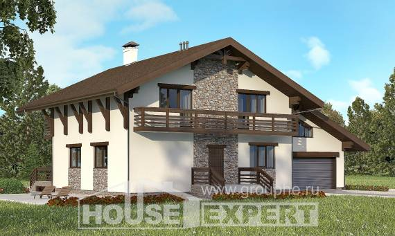 280-001-R Two Story House Plans with mansard with garage, a huge Custom Home