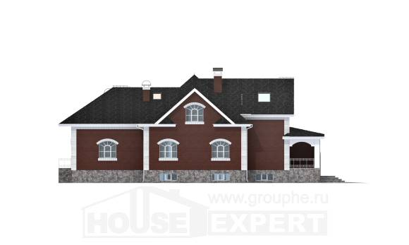 600-001-R Three Story House Plans with mansard roof with garage in front, luxury Ranch