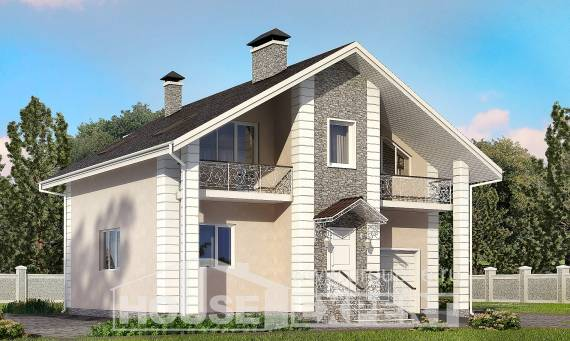 150-002-R Two Story House Plans with mansard with garage under, cozy Woodhouses Plans