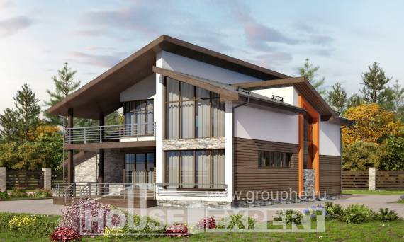 200-010-R Two Story House Plans and mansard and garage, modern Home House