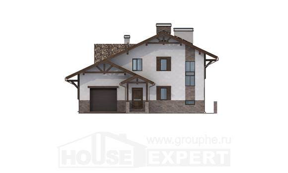 305-002-R Three Story House Plans with mansard with garage in front, luxury Construction Plans