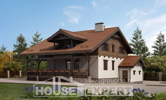 255-002-L Two Story House Plans and mansard with garage, classic Timber Frame Houses Plans