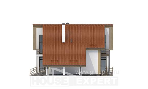 170-009-R Two Story House Plans and mansard and garage, modest Woodhouses Plans