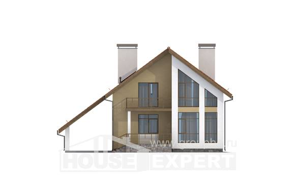 170-009-R Two Story House Plans with mansard roof with garage under, inexpensive Construction Plans