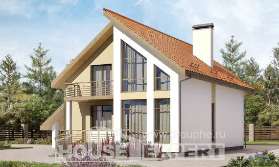 170-009-R Two Story House Plans with mansard roof with garage under, small Custom Home