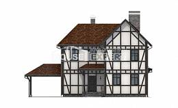 180-004-L Two Story House Plans with mansard roof with garage in front, a simple Drawing House