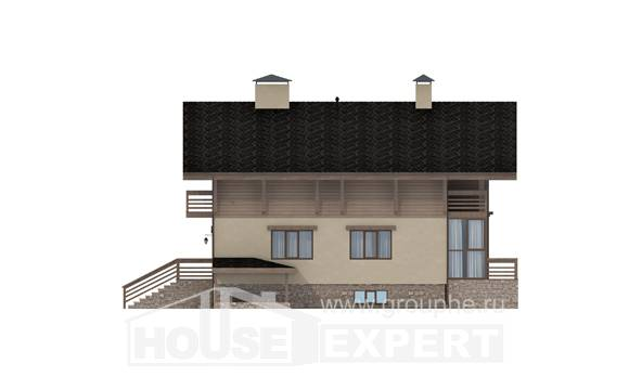 420-001-L Three Story House Plans with mansard roof with garage, modern Ranch