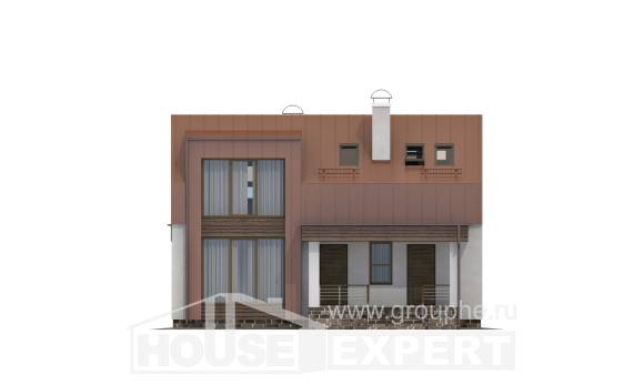 120-004-L Two Story House Plans with mansard, small Home House