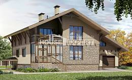 420-001-L Three Story House Plans with mansard with garage in back, cozy Design House