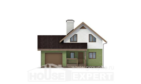 120-002-R Two Story House Plans with mansard and garage, classic House Plan