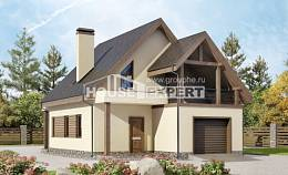 120-005-L Two Story House Plans with mansard with garage under, small House Plan
