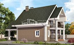 140-003-R Two Story House Plans with mansard roof and garage, small Blueprints