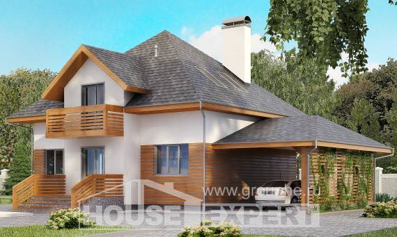 155-004-R Two Story House Plans with mansard roof and garage, compact House Blueprints