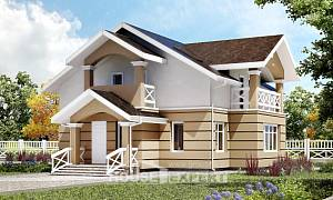 155-009-R Two Story House Plans with mansard, economical Blueprints of House Plans