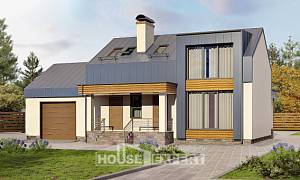 150-015-R Two Story House Plans with mansard with garage, a simple House Plans