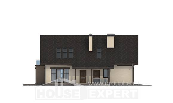 185-005-L Two Story House Plans and mansard with garage under, luxury Floor Plan