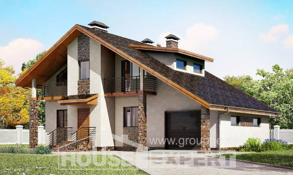 180-008-R Two Story House Plans and mansard with garage, cozy Villa Plan