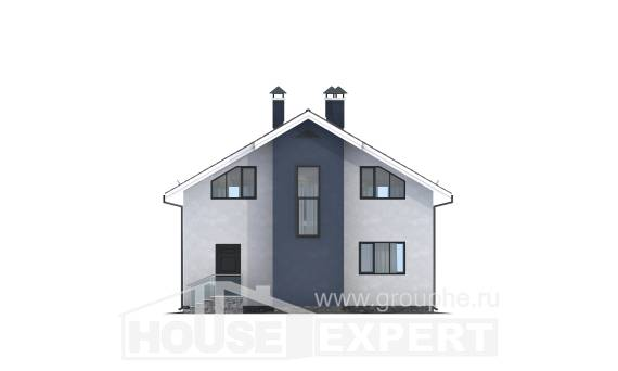 150-005-R Two Story House Plans with mansard roof, modern Blueprints