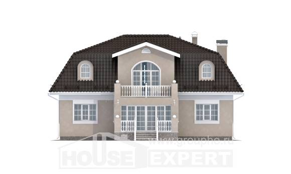 210-001-L Two Story House Plans with mansard roof, classic Home Blueprints