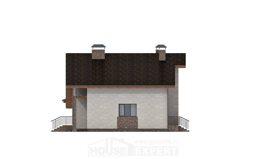 180-008-L Two Story House Plans with mansard roof with garage in front, average Blueprints of House Plans,