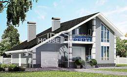 190-006-L Two Story House Plans with mansard roof with garage in front, average Online Floor