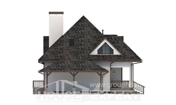 110-002-L Two Story House Plans with mansard roof with garage, a simple Woodhouses Plans