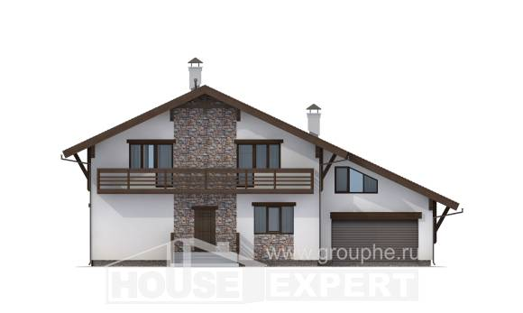 280-001-R Two Story House Plans with mansard with garage in front, a huge Planning And Design