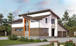 240-004-R Two Story House Plans with mansard with garage, best house Custom Home