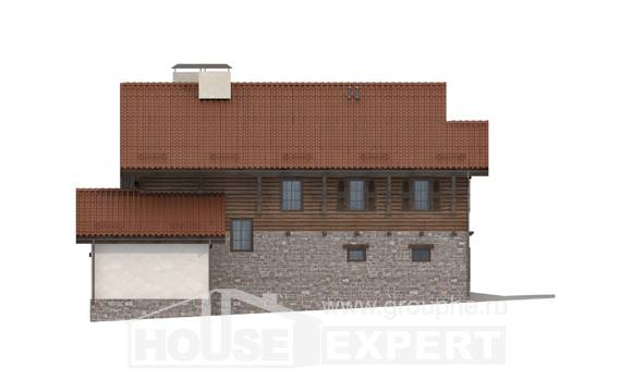 255-002-L Two Story House Plans with mansard roof with garage in back, a huge Models Plans