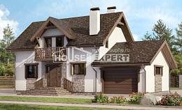180-013-R Two Story House Plans and mansard with garage, the budget Home Blueprints