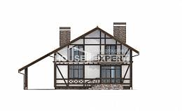 155-002-R Two Story House Plans with mansard with garage under, cozy Villa Plan