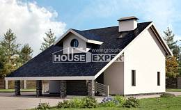155-010-R Two Story House Plans with mansard and garage, classic Home Blueprints