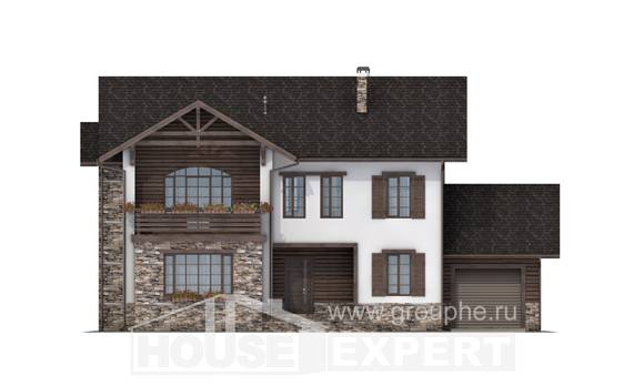 200-005-R Two Story House Plans with garage under, cozy Blueprints