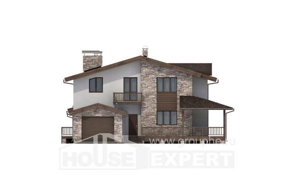 220-001-R Two Story House Plans and mansard with garage in front, luxury Drawing House