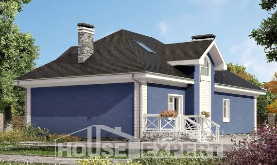 180-010-L Two Story House Plans with mansard roof and garage, luxury Villa Plan