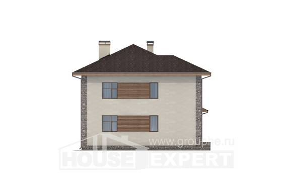 185-004-R Two Story House Plans with garage in front, classic Floor Plan