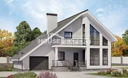 200-007-L Two Story House Plans and mansard with garage under, spacious Online Floor