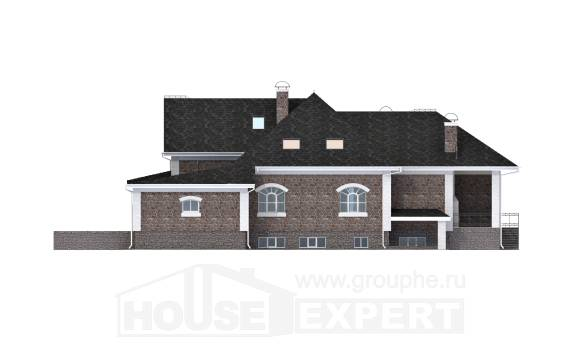 490-001-R Three Story House Plans with mansard roof with garage under, modern Blueprints of House Plans
