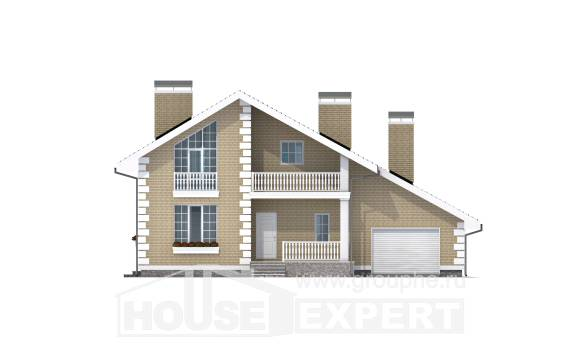 190-005-R Two Story House Plans with mansard roof and garage, a simple Plans To Build