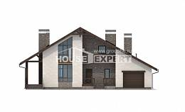 265-001-R Two Story House Plans with mansard with garage in back, spacious Custom Home