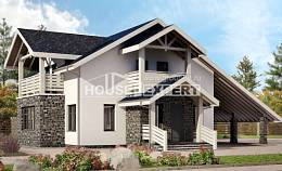 155-010-R Two Story House Plans with mansard roof with garage in back, cozy Plan Online