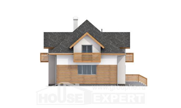 155-004-R Two Story House Plans and mansard with garage in back, compact Plans To Build