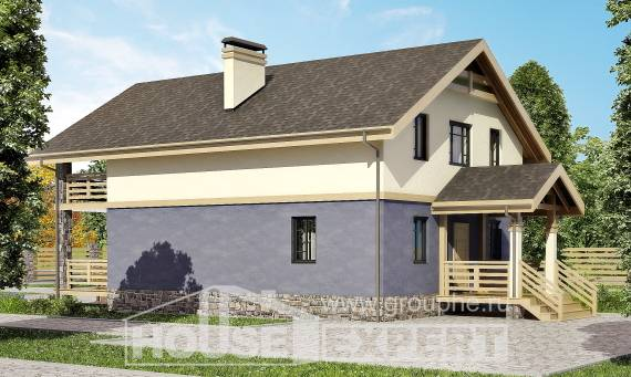 160-010-R Two Story House Plans with mansard roof, compact House Plans