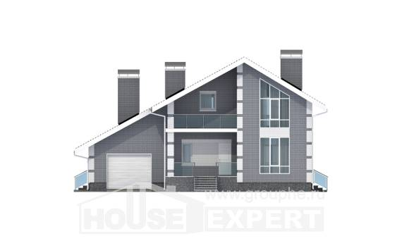 190-006-L Two Story House Plans and mansard with garage under, spacious Villa Plan