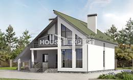170-009-L Two Story House Plans with mansard roof with garage, beautiful Floor Plan