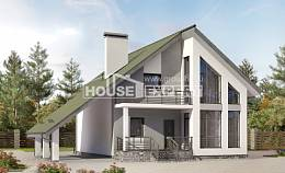 170-009-L Two Story House Plans with mansard and garage, inexpensive Online Floor